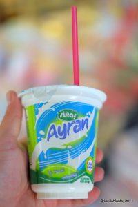 Ready-made Ayran in a cup, traditional Turkish yogurt drink